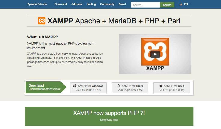 O website Apache Friends