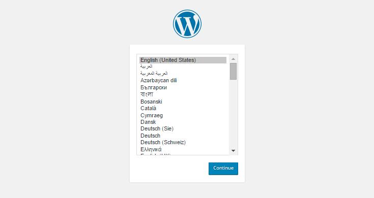 Escolha o idioma que deseja usar no WordPress.